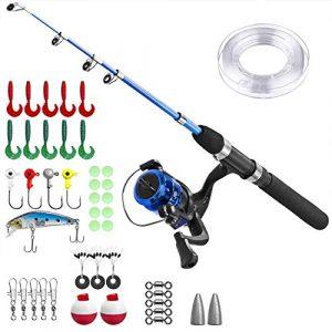 Angel Kit Canne à pêche pour Enfant, Canne à pêche avec Moulinet et Set de leurres, Schwarzer Griff, 1.2M