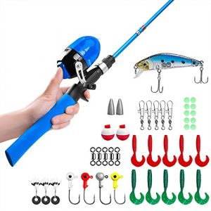 Canne à pêche pour enfants, Canne à pêche télescopique et Combos à moulinet avec moulinet de pêche Spincast et String avec ligne de pêche (Bleue-1.5 M)