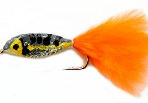 époxy Appât truite Pêche à la mouche mouches Leurres serpentins Taille 12–Orange/Jaune Corps