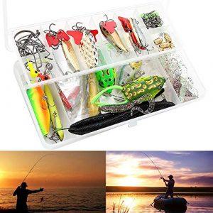 Generic Lot de 102 leurres de pêche pour pêche à la Truite, au Saumon, à l'Ammon, à l'appât, au brochet, au brochet, au Royaume-Uni