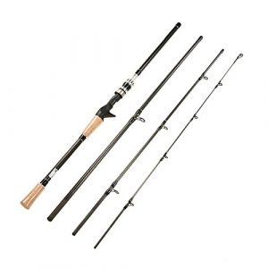 Lixada 4 Sections Spinning/Casting Canne à Pêche Haute 99% Carbone Rods de Pêche (Spinning, 2.1m)