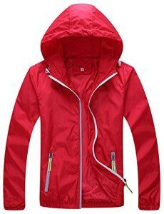 Mochoose Femme Légère Packable Veste de Sport à Capuche Protection UV Coupe Vent à Séchage Rapide(Rouge,S)