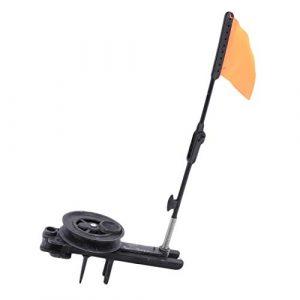 Yetsier Canne à Pêche sur Glace Pliable avec Drapeau Rond Équipement De Pêche Au Drapeau Orange (Noir)