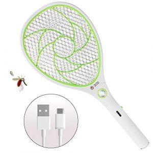 ZOMAKE Raquette Anti Moustique Electrique Rechargeable, tapetteà Mouches et Autres Insectes Volants Rechargeable par USB Éclairage LED Double Couche de Protection en Maille (Vert)