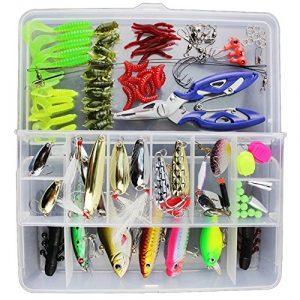 Afishup 101pcs Pêche Leurre Kit Mixte Dur Appât de pêche en métal leurres Leurres Souple Coffre à pêche
