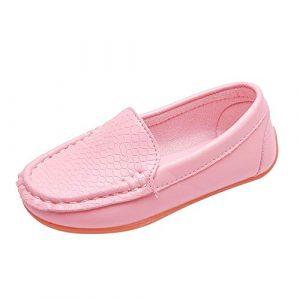 POIUDE Chaussure Enfant, Chic Chaussure Bateau Enfant Loisirs Confort Chaussures Fille GarçOn Plates En Cuir Oxford Chaussures Pour 1-12 Ans(Rose,12 Ans)