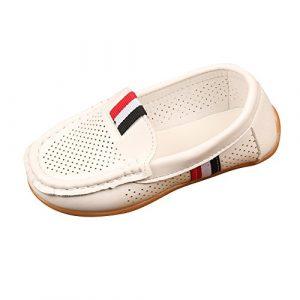 POIUDE Chaussure Enfant, Mixte Enfant Loisirs Confort Chaussures Fille GarçOn Fond Plat En Cuir Oxford Chaussure Pour 1-9 Ans(blanc,7-7.5 Ans)