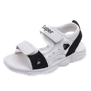 POIUDE Sandales Bébé Filles GarçOn Enfant Mixte Confortable Flexible Sandales de Plage En Cuir 18 Mois -9 Ans(Noir,4-4.5 Ans)