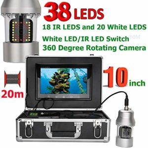 ZY Caméra vidéo de pêche sous-Marine 10 Pouces 20m Fish Finder IP68 étanche 38 LEDs Caméra rotative à 360 degrés