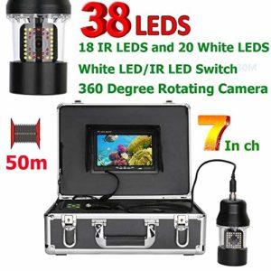 ZY Caméra vidéo de pêche sous-Marine 7 Pouces 50m Fish Finder IP68 étanche 38 LEDs