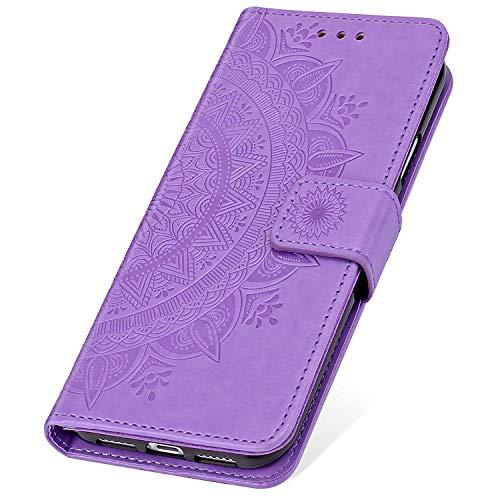 SainCat Coque pour Galaxy A50, Etui en Cuir avec Fleur Ultra Mince Portefeuille Emplacement pour Cartes + Fermeture Magnétique Cuir PU + TPU Bumper Antichoc Coque pour Samsung Galaxy A50-Pourpre