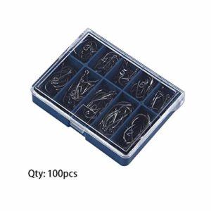 HibiscusElla Durable 1 Set 100 Pcs 10 Tailles 3# À 12# Noir Argent Crochets De Pêche avec Trou Carpe De Pêche Tackle Carry Box