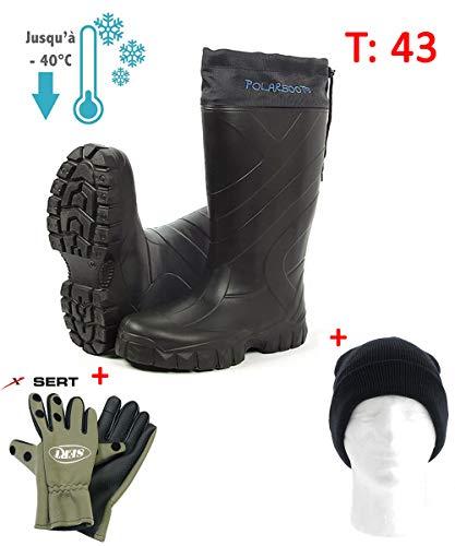 Millenium Pack Grand Froid, Bottes Thermo Polar + Gants Néopréne Doigts Amovibles + Bonnet (T43)