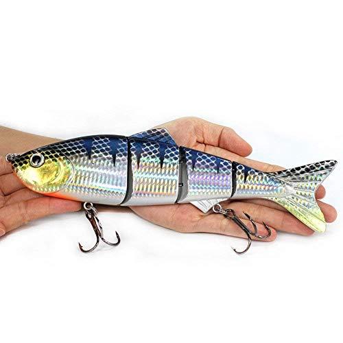 Nuptio Réaliste 4 Gros Segment Géant Naufrage Pêche Leurres Appâts Artificiels Durs Swimbait pour La Pêche, Idéal pour Le Cadeau du Père Pêcheur (22.5cm / 135g)