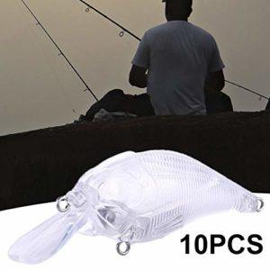 10 leurres de pêche artificiels Non Peints de 7,5 cm 10,2 g Taille Unique 1 Couleur