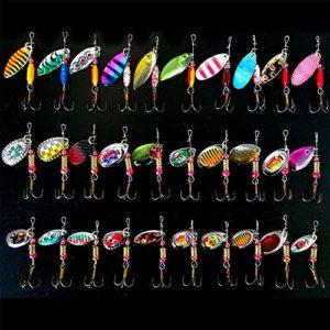 30 Pièces Cuillers de Pêche à la Truite Perche Brochet Leurres Poissons-nateurs pour Eau de Mer d'eau Douce pêche,pêche leurre 2.4-11 g (C)