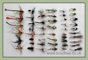 50mouches de pêche truite mixte, sèche, les nymphes, les Appartements, etc. (Lot X215)