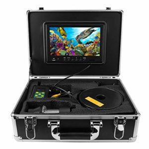 ASHATA Kit de système de Recherche de Poissons avec caméra de pêche sous-Marine à 360 ° avec Moniteur de 9 Pouces, câble de la caméra vidéo 700TVL de la Carte vidéo 700TVL TF et câble 38 LED(UE)