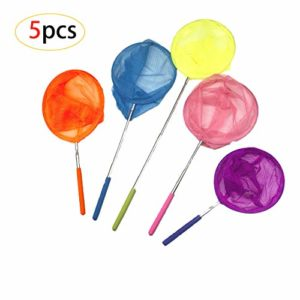 CAILI Filet à Papillon,Epuisette Pêche,Enfants Extensible Filet de Pêche Papillon Bug Insect Net Filet de Papillon,Parfait pour Attraper Les Insectes Petits Poissons(5pcs 5 Couleurs)