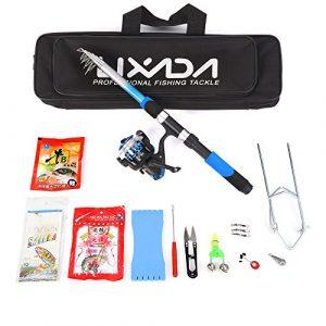 Canne à pêche Set, Lixada télescopique Canne à pêche et moulinet Combo avec ensemble de mer salée d'eau douce kit de canne à pêche kit, Fishing Full Kit(blue)