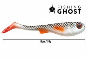 FISHINGGHOST® XL Leurre Pike GrumpyOne Select 55gr, 18cm, Action de Natation extrême, leurres pour la pêche au brochet, amorces pour Poissons, swimbait, Puissance de pêche élevée (Real Ghost)