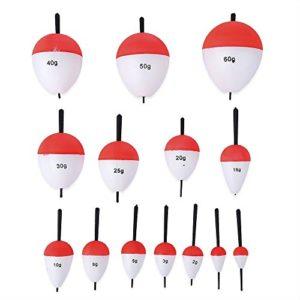 Fjiujin,Flotteur de Poisson du polystyrène 14pcs / Set avec Le matériel de pêche extérieur de bâton pour la pêche(Color:Rouge ET Blanc,Size:14PCS)