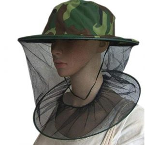 Garciaria Head Top Camouflage Beekeeping Hat Veil Combo Bee Hat Bug Mesh Mask(Color:Camouflage Green)
