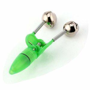 Garciaria LED Flash Light Night Pêche électronique Bite Alarm Finder Lampe Double Twin Bells Astuce Clip sur Fish Tackle