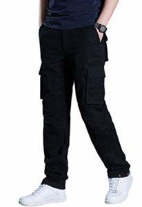 KEFITEVD Pantalon Cargo Automne Homme Taille Élastique Pantalon de Combat Pantalon Militaire Casual avec 6 Poches Noir