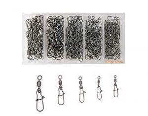 Kit d'émerillons et agrafes de pêche en acier inoxydable – Ultra solides – Taille 2, 4, 6, 8 et 10 – Boîte de 95 pèces