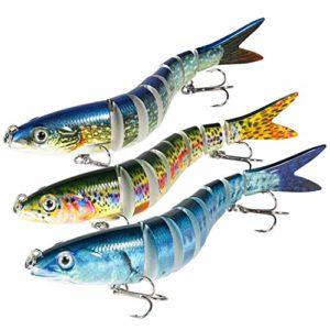 Magreel Leurre Pêche Mer Multi Articulé, Leurre Truite Kit de Pêche au Leurre à Décélération Lente pour Truite, Brochet, Perche et Plus – Lot de 3