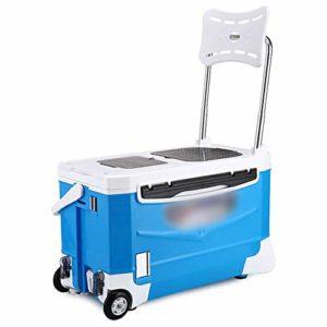 Mopoq Pêche Boîte avec siège, Multifonctions Épaississement Live Bait Cooler avec Roues et Tie Rod for la pêche en Plein air Chaud et Froid Isolation (avec boîte à Outils, Bleu)