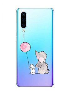 Oihxse Compatible pour Huawei Honor 10 Coque [Mignon Transparente Éléphant Lapin Motif Séries] Housse TPU Souple Protection Étui Ultra Mince Anti Choc Animal Case (A8)