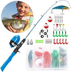 PLUSINNO Planinno Canne à pêche télescopique pour Enfant avec Canne à pêche et Reel Combos