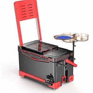 Poste d'appât Portable New Extérieur Pêche Boîte avec Chaise Multifonctionnelle Pêche Frais Garder Seau Plein Équipement De Pêche Boîte (Color : Red, Size : One Size)