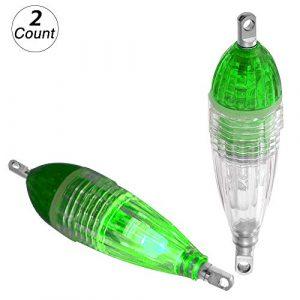 Roblue 2 pcs Pêche Leurre Poisson Lumière sous-Marine Attirant Lampe LED Leurre de Pêche Lumière Clignotant