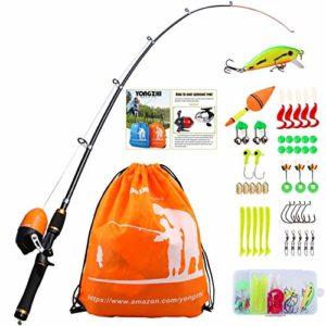 Sougayilang Enfants Canne à pêche avec Moulinet Spincast Canne à pêche télescopique Kits complets pour garçons, Filles et Adultes – Orange