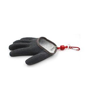 Topind Gant de pêche anti-coupure, étanche, en fils de polyéthylène tissé et latex, système d'attache magnétique – Tailles M/L/XL, Noir , L left hand