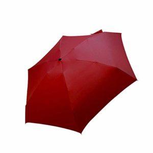 ZJF Regenschirm Sonnenregen Frauen Flacher Leichter Regenschirm Sonnenschirm Faltbarer Sonnenschirm Mini Regenschirm Klein Größe Einfach aufbewahren Sonnenschirm, Rot
