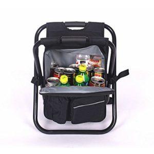 Basong Chaise pliable Sac Isotherme Tabouret Pêcher Pique-niquer Camping Sac à Dos Chaise de Plage (noir)