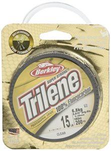 Berkley – Filament de pêche 100% fluorocarbone 180m Taille 1.8kg Trilene – 11.3kg *Carpe Truite saum Transparent Transparent 15 lbs/0.38 mm