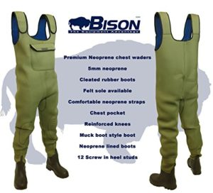 Bison – Waders néoprène 5 mm – vert olive – pointure 45