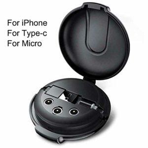 Cherishly Câble de données magnétiques rétractable 3-en-1 magnétique Trois en Un câble de données Câble Chargeur de Chargeur de téléphone Portable Embout magnétique Fort Adorable