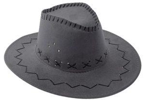 COMVIP Adulte Chapeau de Soleil Pêche Chapeaux Western Cow-Boy Velours Plage Vacances Mode 56-58cm Gris