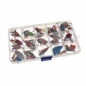 Generic OOK Kit d'appâts toupies 30 pièces Assorties en métal pour pêche à la Truite avec leurre de pêche à la Truite et hameçon 30 pièces Assorties Meta