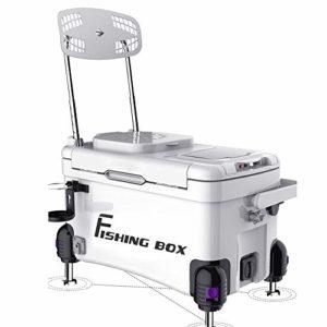 HUDEMR Pêche Boîte de Vitesse Quatre Angle de Levage de la mer Pêche Boîte Pleine Équipement de pêche avec Bucket Chaise multifonctionnelle pêche de Nuit Boîte Blanc Rouge Mer Pêche Box