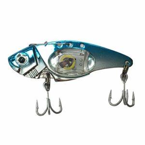 Jinxuny Leurre de pêche en Forme de Poisson avec lumière LED, 蓝, 蓝