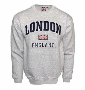 LE201GN Unisex London England Sweatshirt Grey Navy XS-2XL M