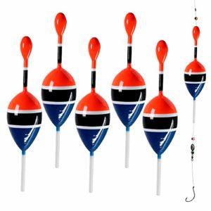 Lot de 5 flotteurs pour pêche en eau salée et en eau douce – 5-14 g – Pour crapet, perche, truite, 5 pieces blue, Flotage 0.17oz 1.6″x4.8″
