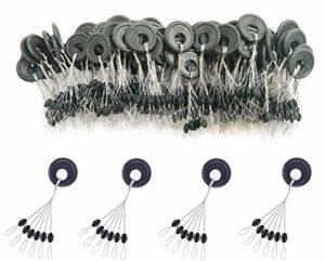 Milepetus Bouchon de 600 pièces en Caoutchouc pour la pêche en Caoutchouc Butées de Flotteur 6 en 1,Cylindre Ovale coloré Orange Noir, butée de Flotteur L M S (Black-Oval, M)